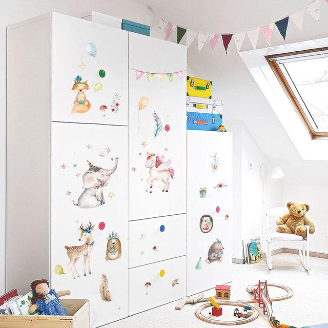 640x640 Watercolor Wall Sticker Bedroom Cupboard Kindergarten Wall
