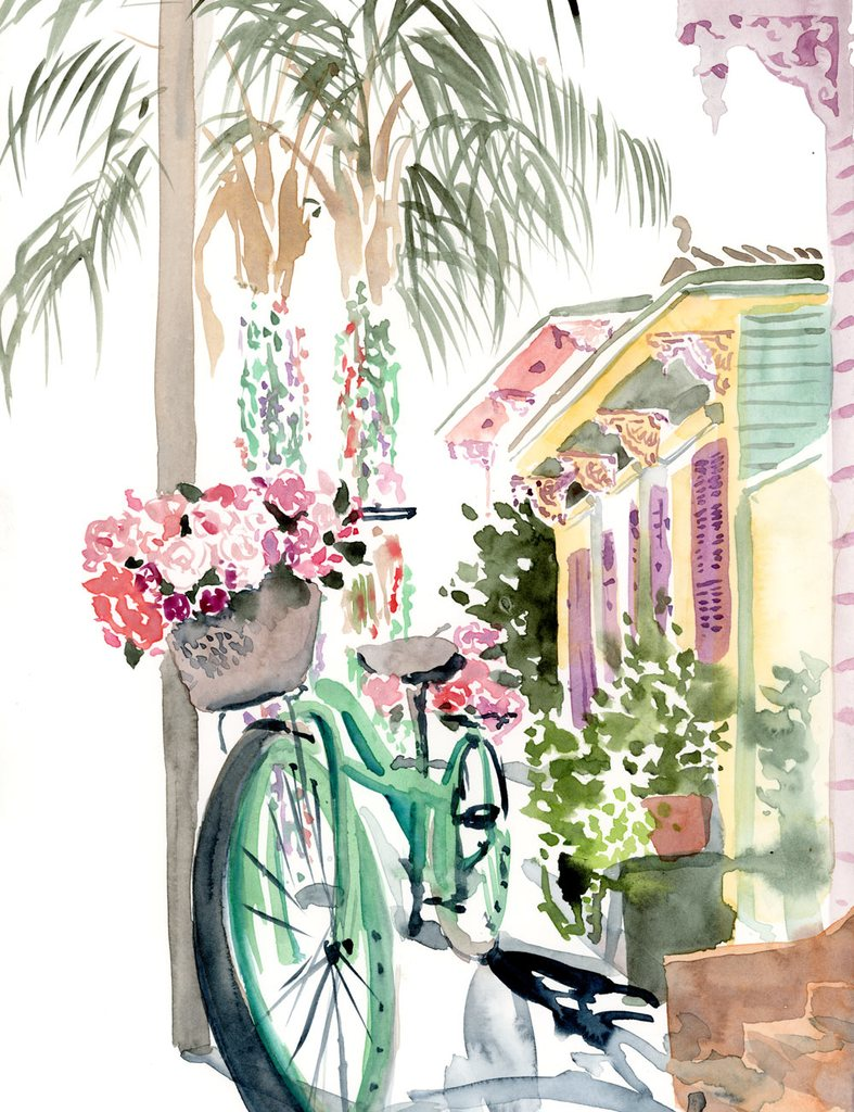 787x1024 Blooming Bicycle In The Marigny Watercolor Painting Lyla Clayre
