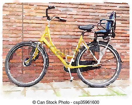 450x357 Yellow Bicycle Digital Watercolour. Digital Watercolour Painting