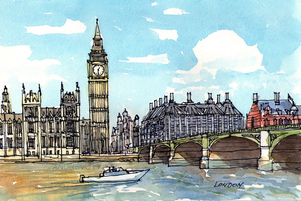 big ben watercolor at getdrawings com free for personal use big