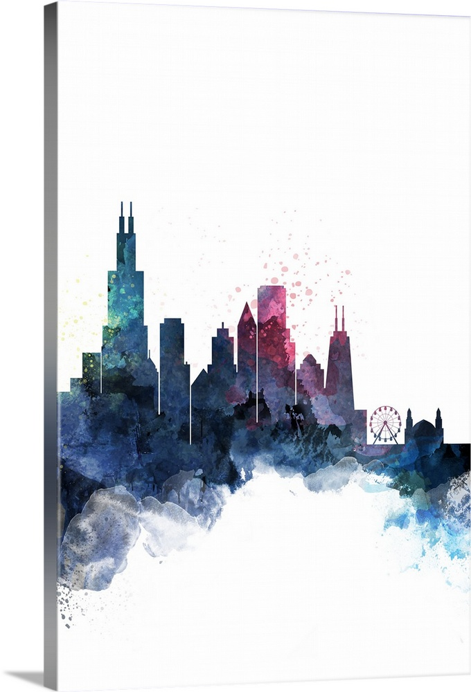 680x1000 Chicago Watercolor Cityscape Wall Art, Canvas Prints, Framed