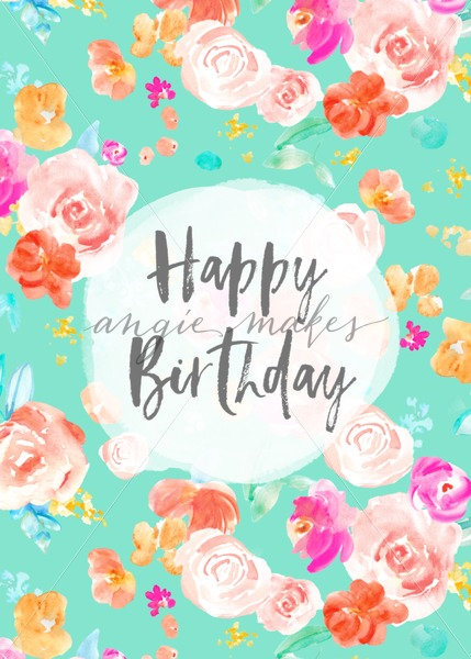 429x600 Happy Birthday Card Download With Watercolor Flowers. This