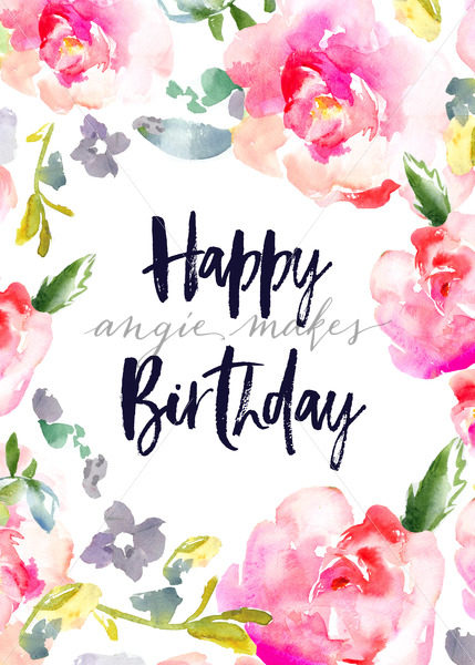 429x600 Happy Birthday Card With Watercolor Flowers. Cute Birthday Card