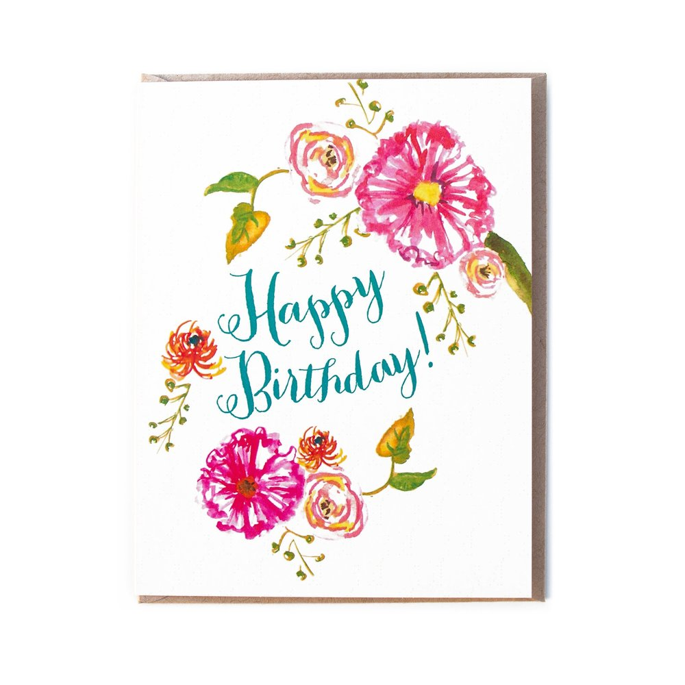 1000x1000 Happy Birthday Watercolor Floral Card Set The Paper + Craft Pantry