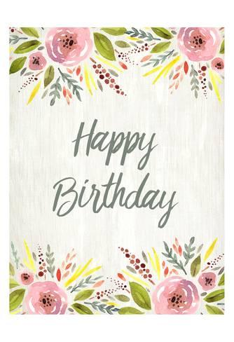 334x488 Happy Birthday Watercolor Floral Poster By Kimberly Allen