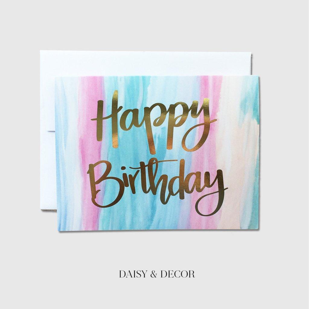 1024x1024 Happy Birthday Watercolor Greeting Card Daisy And Decor
