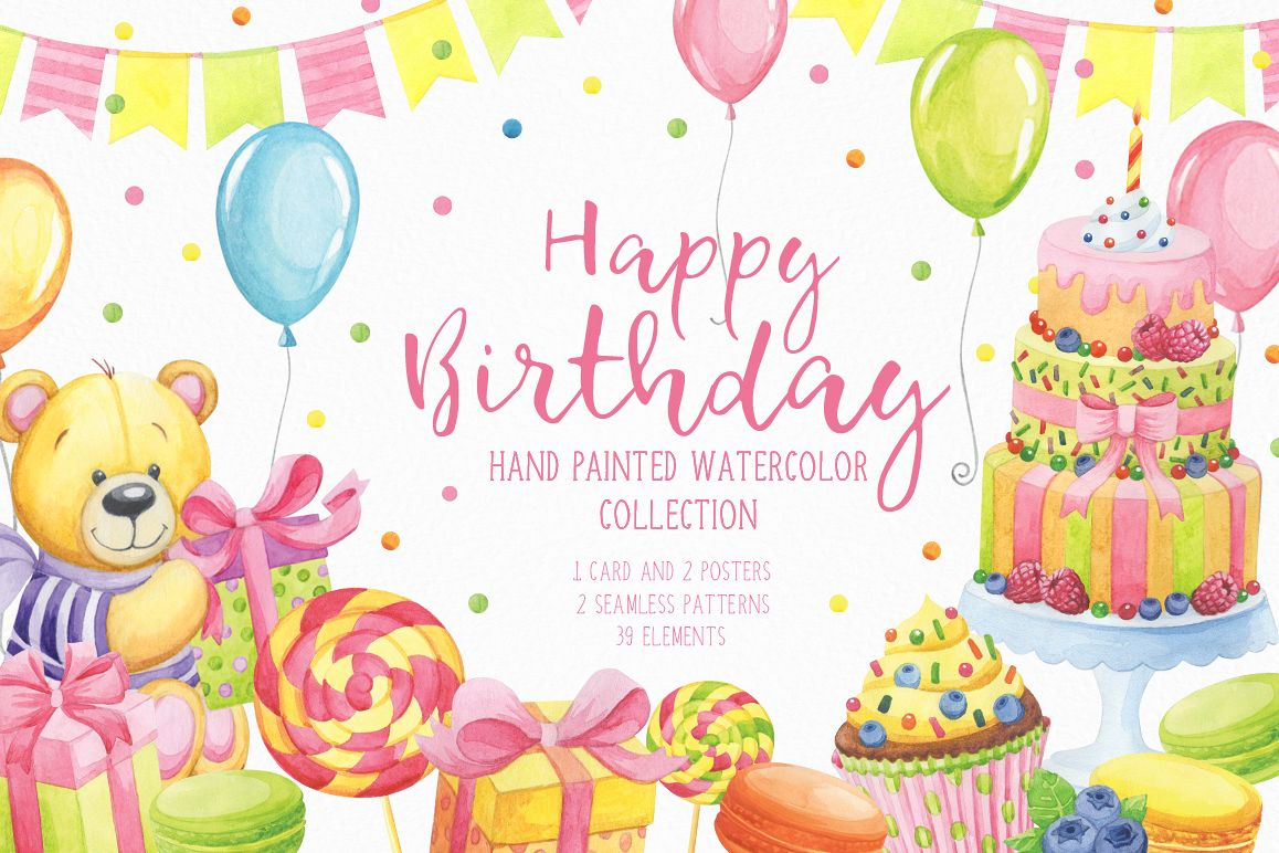 1158x772 Happy Birthday Hand Painted Watercolor Collection