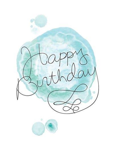 415x550 Note Card Watercolor Blue Happy Birthday