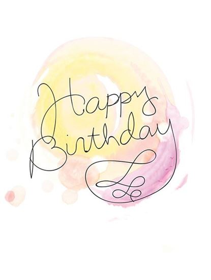 415x550 Note Card Watercolor Pink Happy Birthday