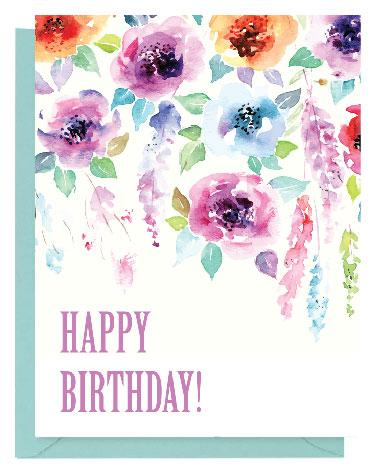 372x470 Purple Floral Watercolor Happy Birthday Card Paper On Pine