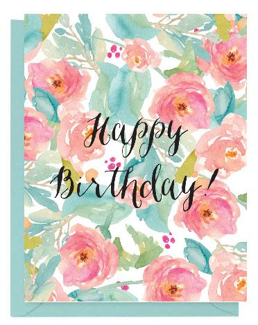 372x470 Tropical Floral Watercolor Happy Birthday Card Paper On Pine