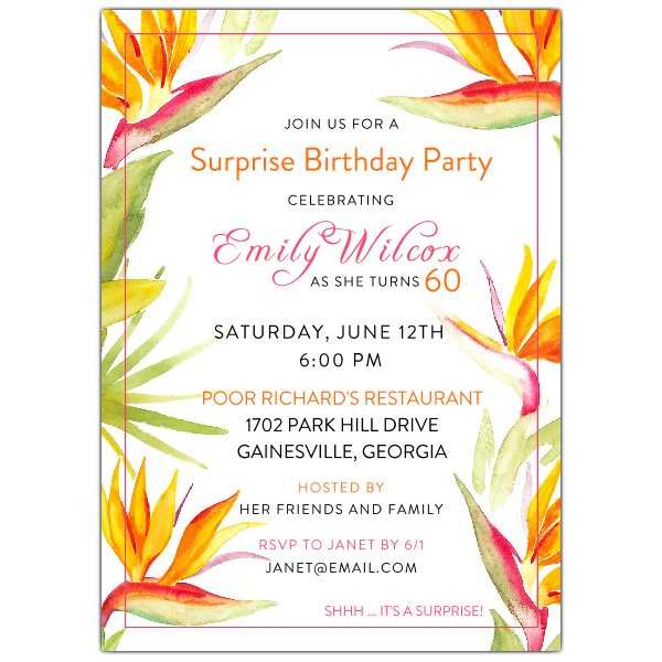 600x600 Tropical Watercolor Floral Birthday Party Invitations Paperstyle
