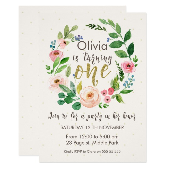 540x540 Watercolor And Calligraphy 1st Birthday Invitation