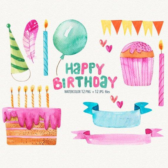 570x570 Watercolor Birthday Clipart Happy Birthday Cards Birthday Etsy
