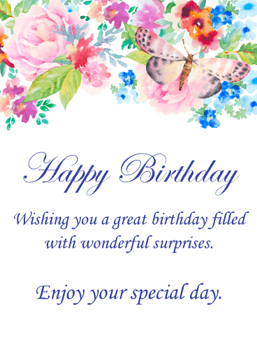 368x490 Watercolor Flower Amp Butterfly Happy Birthday Card Birthday