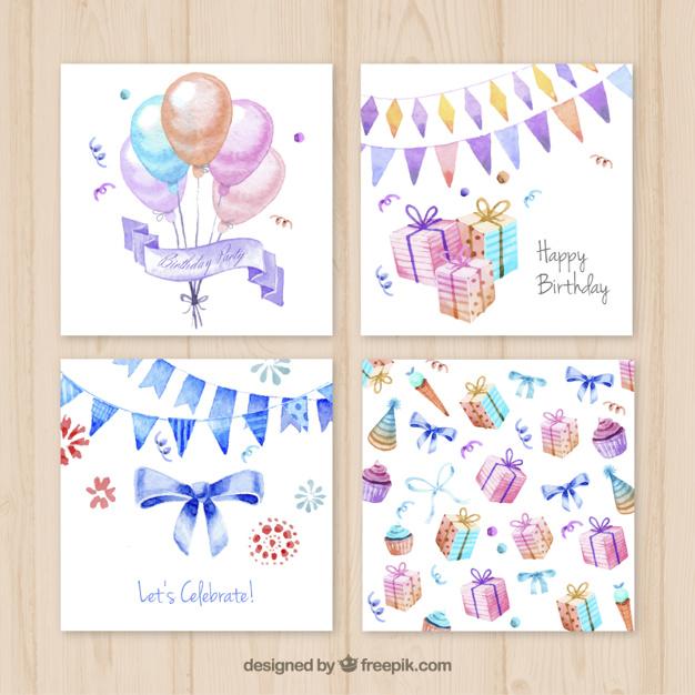 626x626 Watercolor Birthday Cards Vector Premium Download