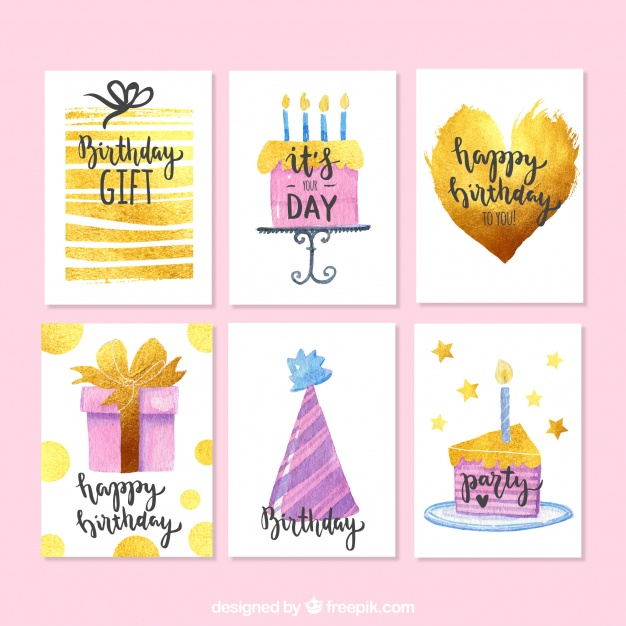 626x626 Watercolor Birthday Cards Pack Vector Free Download