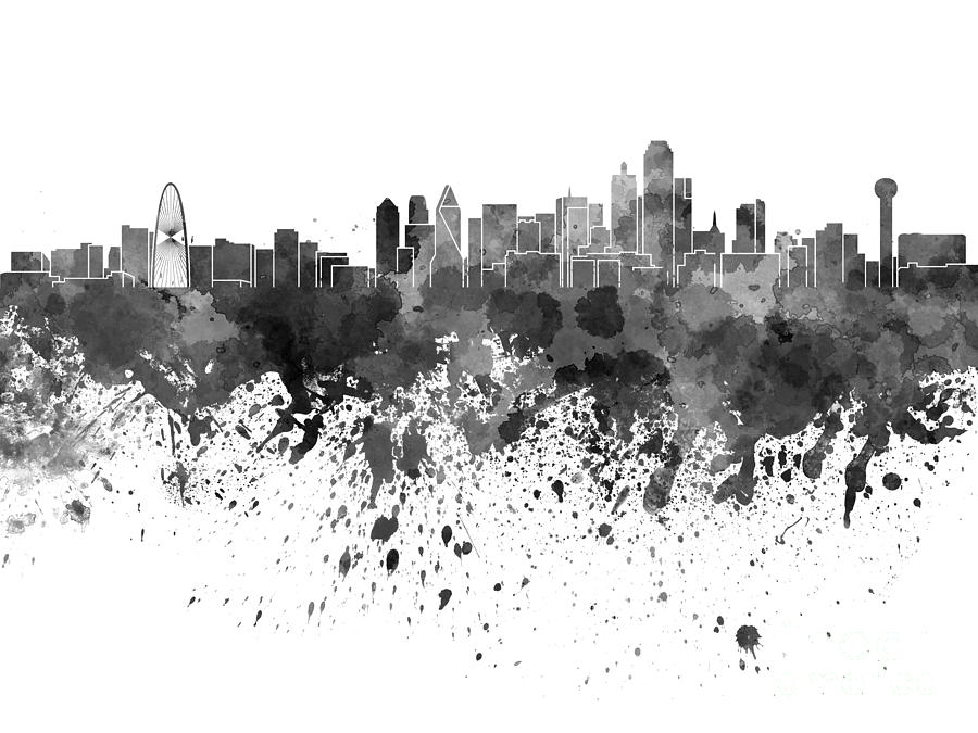 900x675 Dallas Skyline In Black Watercolor On White Background Painting By