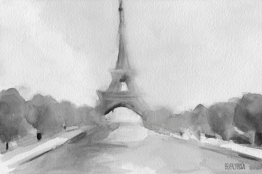 900x600 Eiffel Tower Watercolor Painting