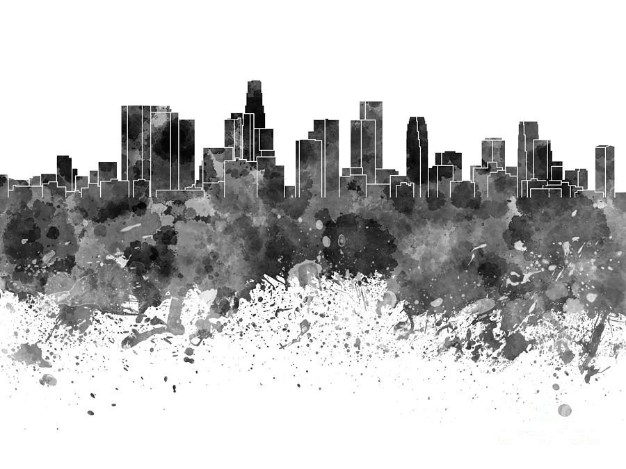 900x675 Los Angeles Skyline In Black Watercolor On White Background