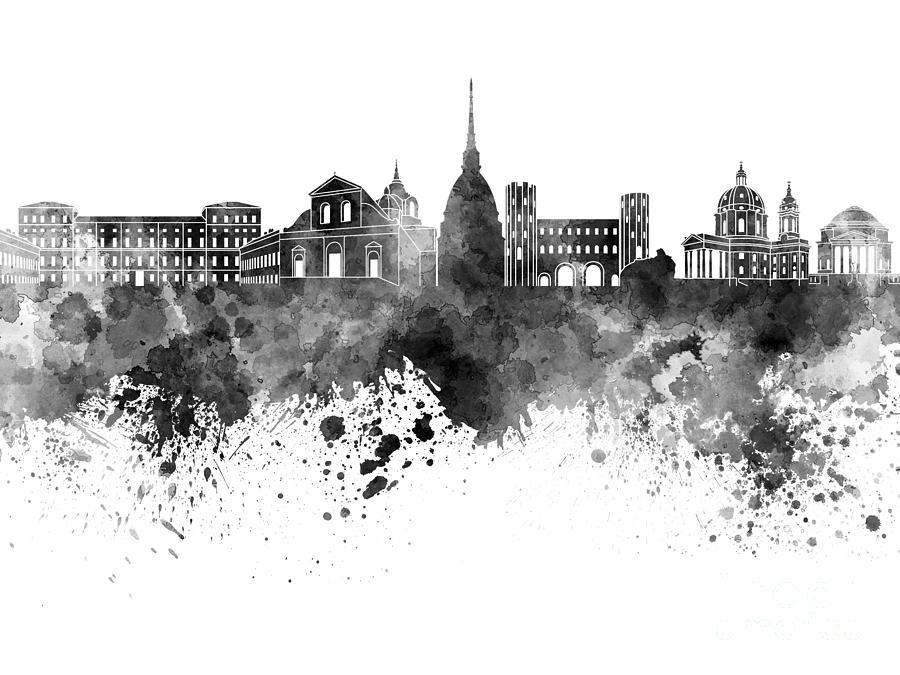 900x675 Turin Skyline In Black Watercolor On White Background Painting By