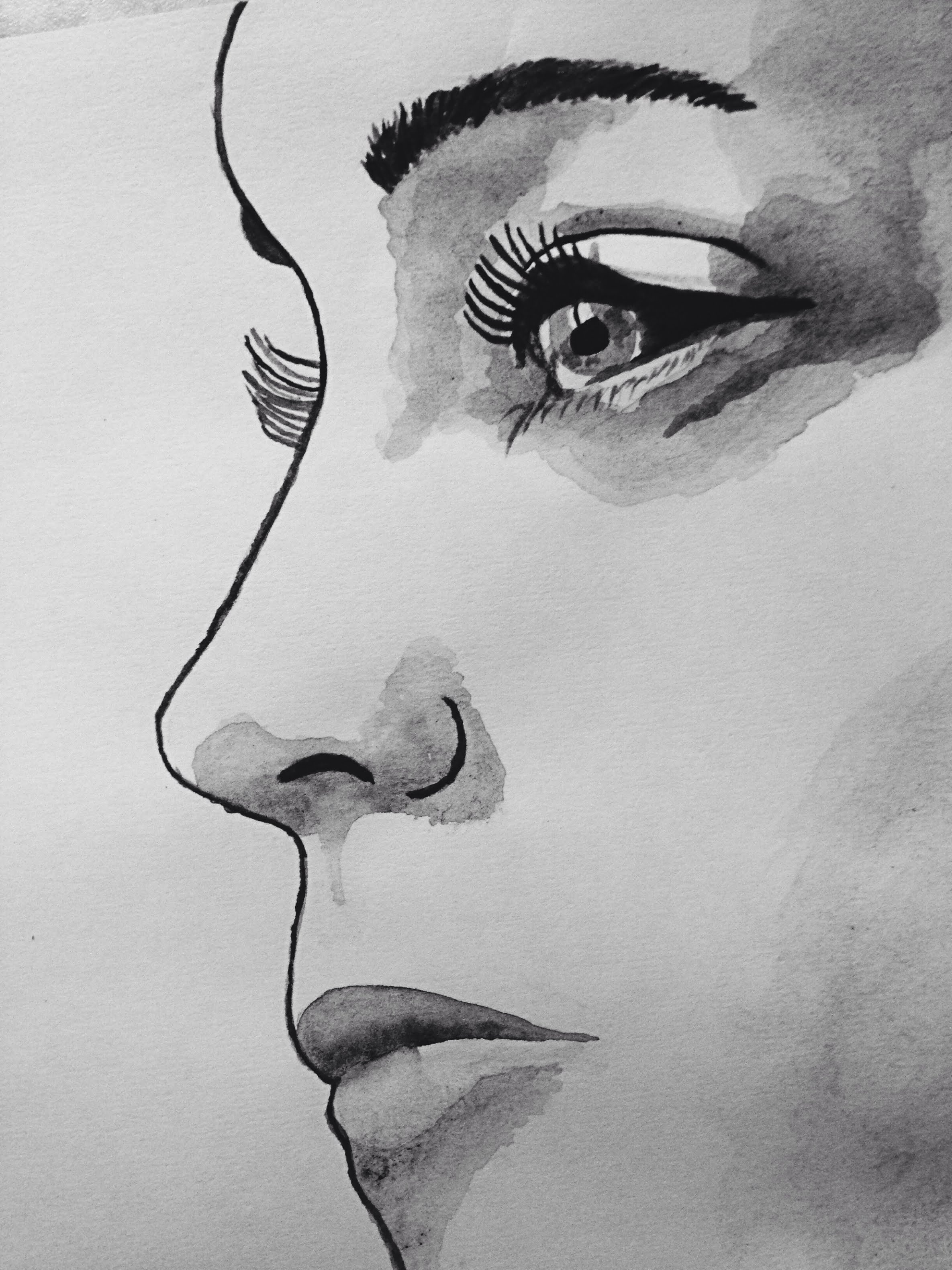 2370x3160 Watercolor Face Black And White. Speed Painting. Liz Webster