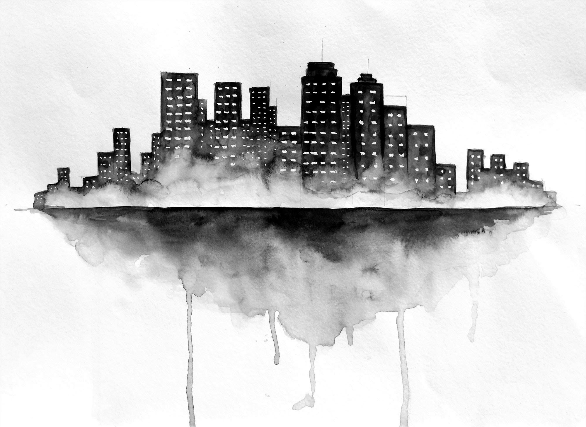 2000x1458 Black And White Watercolor Painting Black And White Watercolor