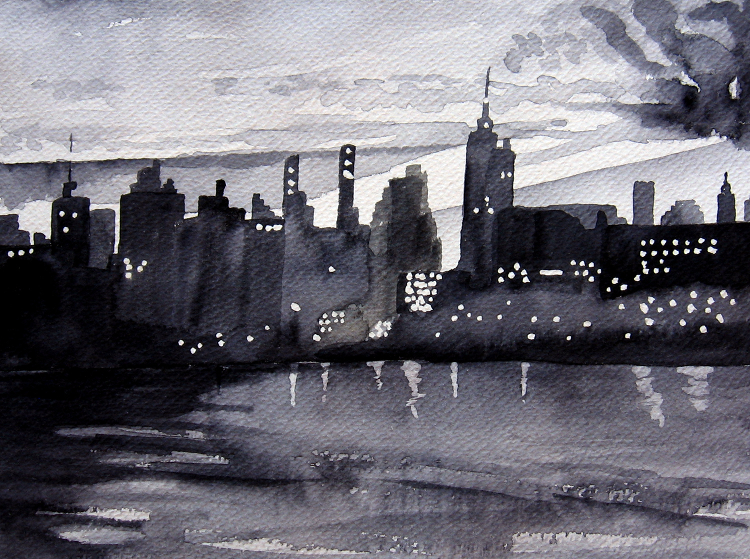 1500x1118 Black And White Watercolor Leslie White