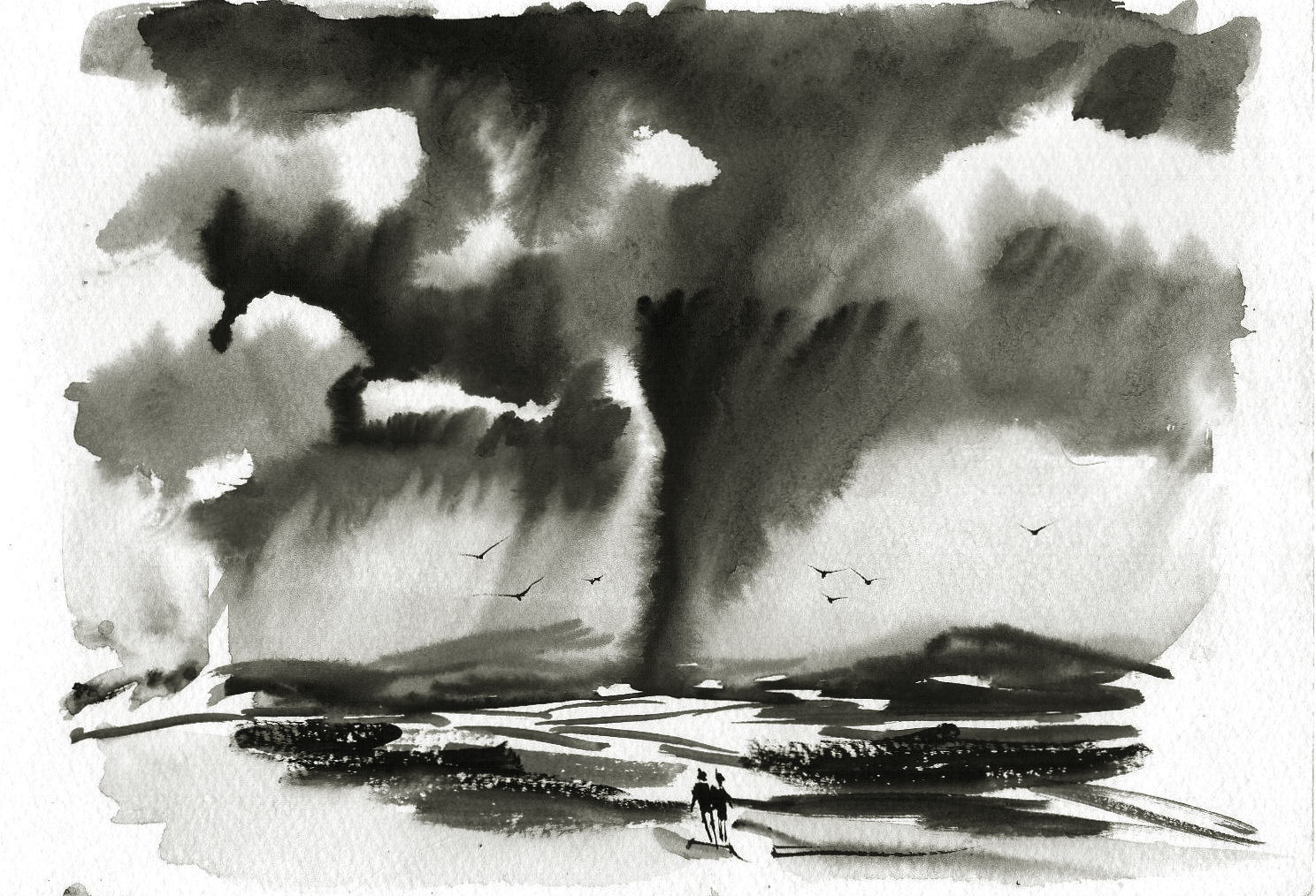 1488x1014 Black And White Watercolor Painting Watercolour Painting Black