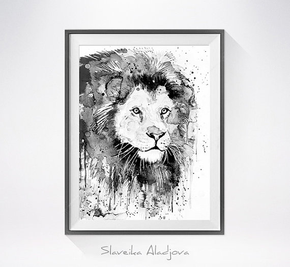 570x525 Black Amp White Lion Watercolor Painting Print
