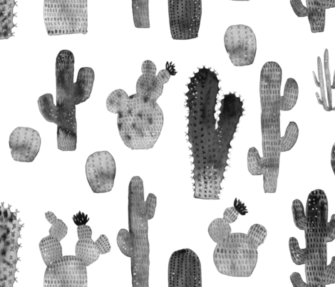 470x403 Black And White Watercolor Cactus
