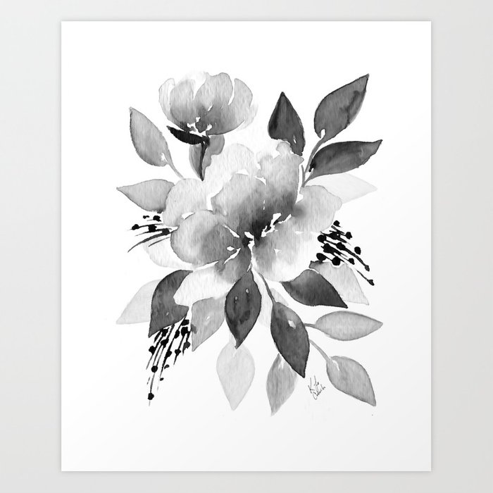 700x700 Black And White Watercolor Flowers Art Print By Katrinacrouch