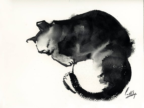 570x428 Cat Minimalist Black And White Watercolor Painting Original Etsy