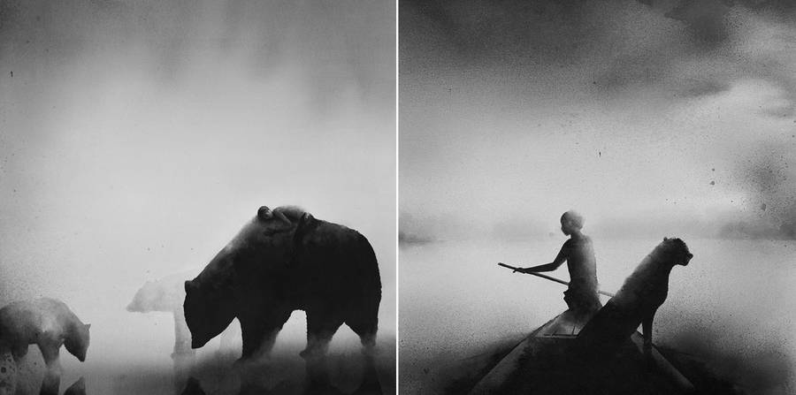 900x447 Dreamlike And Inspiring Black And White Watercolor Paintings