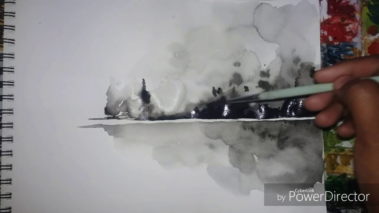 1280x720 Easy Black Amp White Watercolor Painting Of Landscape.