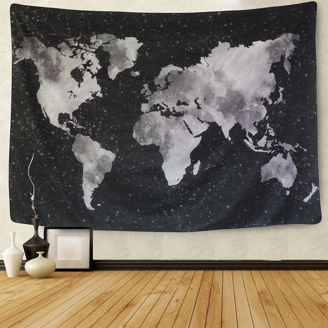 640x640 Enipate New Watercolor World Map Tapestry Black Amp White Abstract