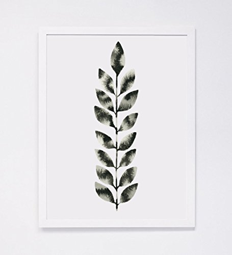 455x500 Watercolor Nature Painting, Black White Modern Leaf