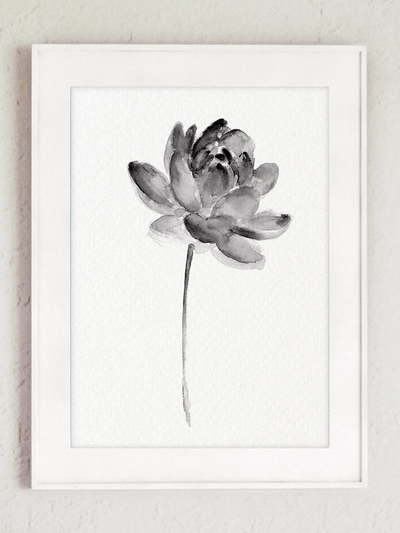 570x760 Lotus Set 2 Print Asian Flowers Abstract By Colorwatercolor