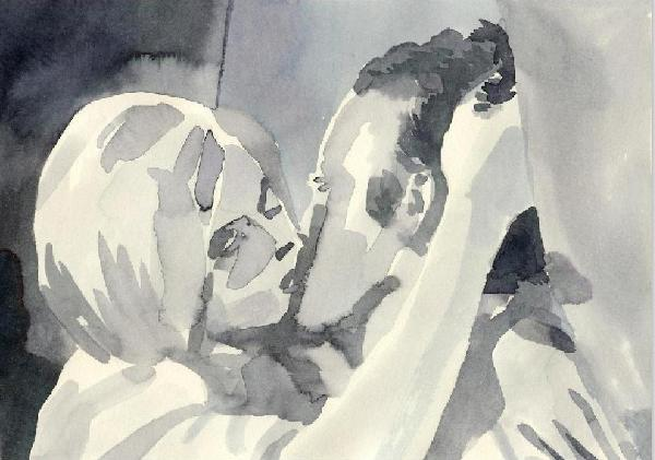 600x421 Lovely Watercolor Paintings Of Scenes From Black And White Movies