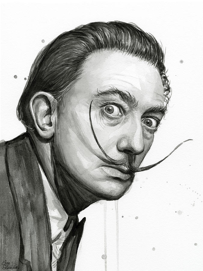 675x900 Salvador Dali Portrait Black And White Watercolor Painting By Olga