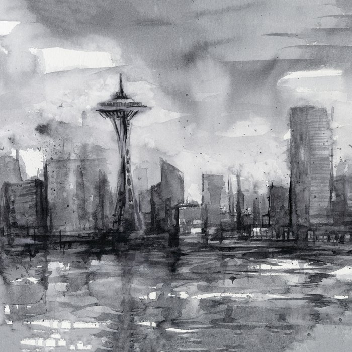 700x700 Seattle Skyline Painting Watercolor Black And White Space Needle