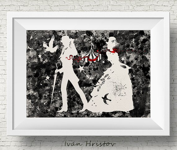 570x482 The Night Circus Black And White Watercolor Painting Art Print Etsy