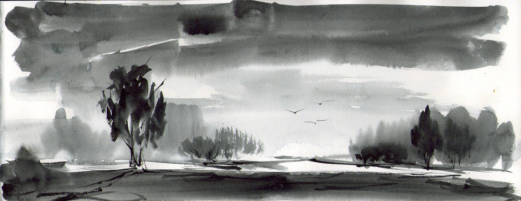 1665x642 Black And White Watercolor Painting
