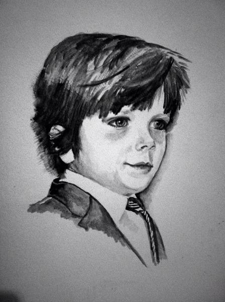 448x600 Black And White Watercolor Portrait