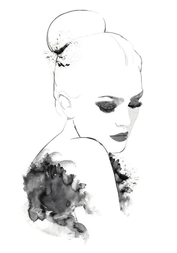 569x813 Black And White Watercolor Portrait By Natalie Lines. Art