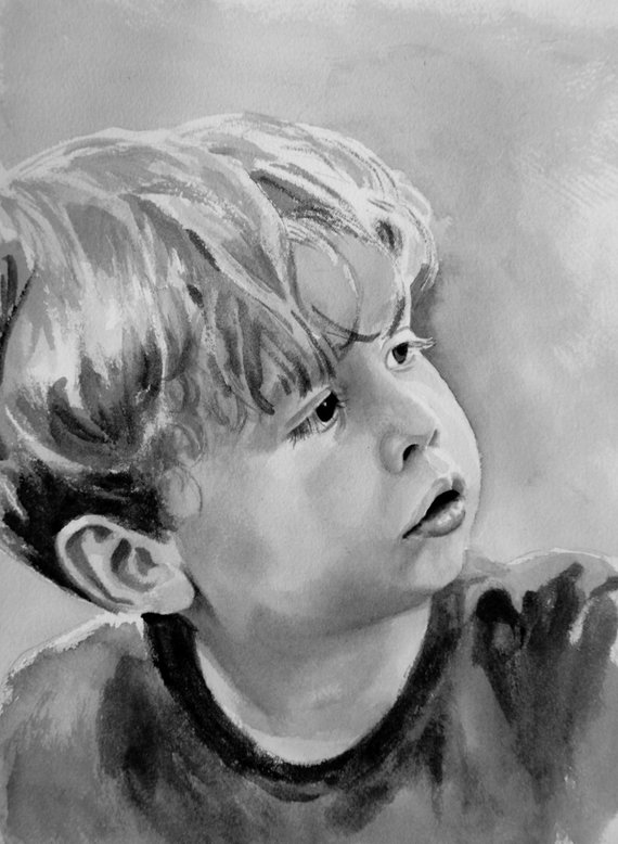 570x778 Custom Watercolor Portrait Single Subject Black And White Etsy