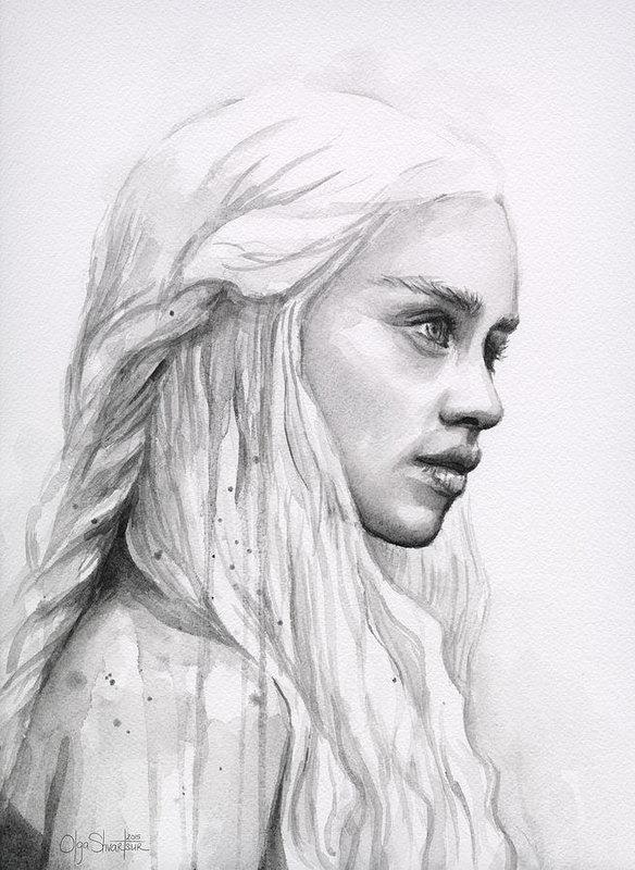 584x800 Daenerys Watercolor Portrait Art Print By Olga Shvartsur