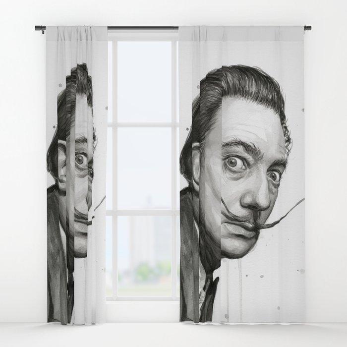 700x700 Dali Artist Watercolor Portrait Window Curtains By Olechka Society6