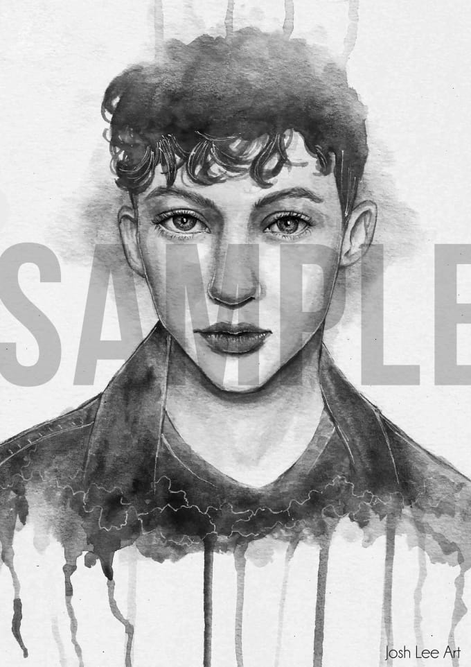 680x962 Draw A Watercolor Portrait Black And White By Joshleeart