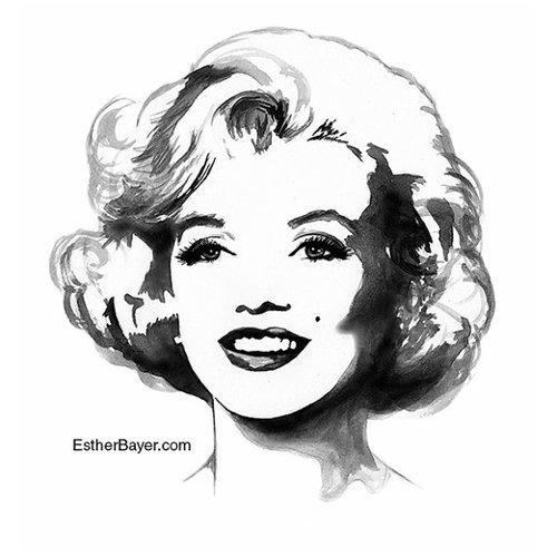 500x500 Marilyn Monroe Black Amp White Watercolor Illustration